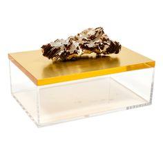 Acrylic Gold Box w/ Barite Crystal Specimen Gold Gift Boxes, Gold Box, Onyx Box, Crystal Box, Acrylic Display, Beautiful Lights, Natural Materials, Crystals, Storage