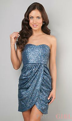 Short Strapless Sequin Ruched Dress at PromGirl.com possibly formal