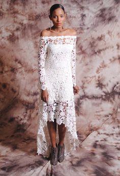 High Low Lace BOHEMIAN WEDDING DRESS  Off Shoulder by DreamersLA, $425.00