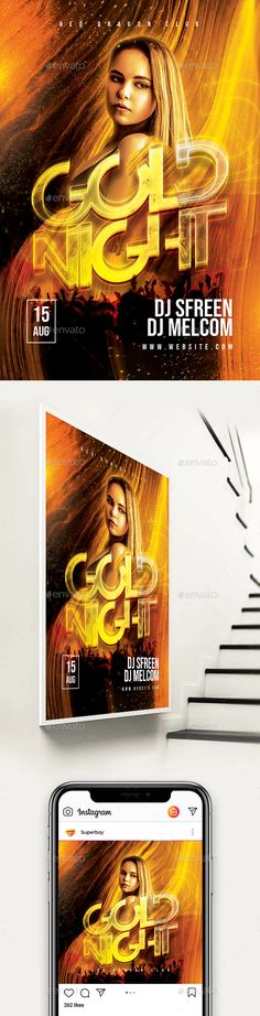 Buy Gold Night Flyer by on GraphicRiver. Features High Quality Poster Easy Editable Text CMYK @ 300 DPI – Print-Ready Perfectly Aligned Organised Layers and G.