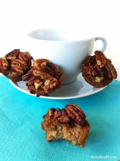 Gluten-Free Pecan Crusted Coffee Cakes - This recipe is gluten free, grain free, dairy free, sweet and delicious little bites of goodness. You are going to love these! Check them out here: http://www.damyhealth.com/2012/08/gluten-free-pecan-crusted-coffee-cakes/