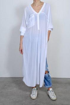 Smythe Side Slit Long Tunic- White Essential Wardrobe Pieces, Cropped Blazer, Tailored Jacket, Cold Shoulder Dress, Women Wear, White Dress, Tunic, Shirts, Linens