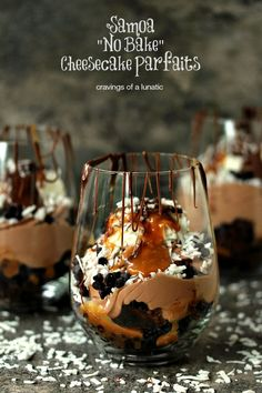 These samoa no-bake cheesecake parfaits are stuffed with brownie, caramel, coconut, and chocolate cheesecake goodness all modeled after your favorite girl scout cookie.  Get the recipe at Cravings of a Lunatic.  MORE: 15 Scrumptious Dessert Recipes Inspired by Girl Scout Cookies   - CountryLiving.com