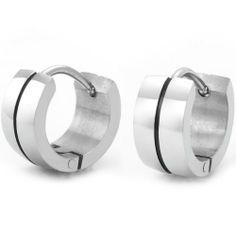 R&B Joyas - Pendientes de hombre, anillos clásicos con rayas masculinas, acero inoxidable, color plateado / negro: Amazon.es: Joyería