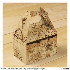 Pirate Old Vintage Treasure Map Birthday Party Favor Box Wedding Favor Boxes, Gifts For Wedding Party, Party Gifts, Kids Birthday Party Invitations, Birthday Parties, Pirate Birthday, Birthday Diy, Birthday Gifts, Pirate Party Decorations