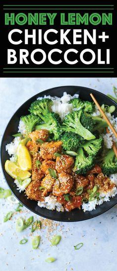 Honey Lemon Chicken and Broccoli Bowls