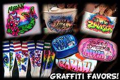 Airbrush Graffiti Party Favors http://cocktailhourentertainment.com Entertainment Rentals for Bar Mitzvahs, Bat Mitzvahs, and corporate events.   Cocktail Hour Entertainment Inc. 954-612-7431