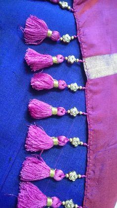 Loved it Cotton Saree Blouse Designs, Saree Tassels Designs, Saree Kuchu Designs, Blouse Neck Designs, Blouse Patterns, Gold Bangles Design, Saree Border, Back Neck Designs, Thread Bangles