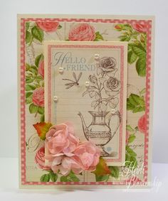 The Stamp Simply Ribbon Store - Hello Friend Card with Graphic 45 Botanical Tea Paper