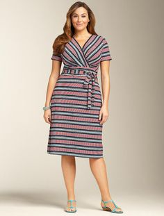We welcome every plus-size professional woman who wants to build a closet of modern, elegant and well fitting work wear and invite you to visit www.executive-image-consulting.com for more information. Talbots - Stripe Wrap Dress | Dresses | Woman