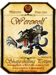 Halloween Werewolf Potion Label Halloween Projects, Spooky Halloween, Holidays Halloween, Halloween Themes, Halloween Decorations, Vintage Halloween, Halloween Apothecary Labels, Halloween Bottle Labels, Halloween Spell Book