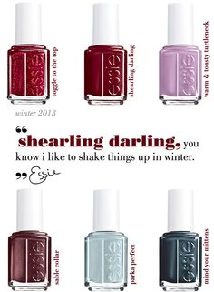 Essie Winter 2013 Collection. I just bought and am wearing toggle to the top. Love it!