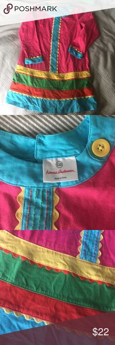 NWOT Hanna Andersson Dress Multi-color knit dress with adorable ric-rac and stitching details! Hanna size 110. US is about 5/6. Perfect condition. Hanna Andersson Dresses Casual