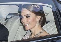 The Duchess of Cambridge stunned in the diamond and pearl Cambridge Lover's Knot tiara so beloved by William's late mother, Diana, Princess of Wales; she wore the same one to her first state banquet last year