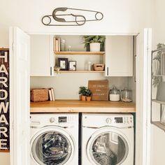 Laundry Room Doors, Laundry Room Shelves, Laundry Room Remodel, Basement Laundry, Small Laundry Rooms, Laundry Room Organization, Laundry Room Design, Laundry Area, Laundry Closet Makeover