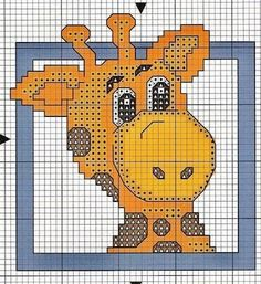 Giraffe cross stitch chart - image only Cross Stitch For Kids, Just Cross Stitch, Cross Stitch Cards, Cross Stitch Baby, Cross Stitch Animals, Cross Stitching, Cross Stitch Embroidery, Cross Stitch Designs, Cross Stitch Patterns