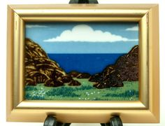 NORWEGIAN Porsgrund Framed Art Tile Anne Marie Odegaard Seaside Norway