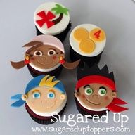 cupcak topper, neverland pirat, birthday cupcakes, kid birthday cakes, jake cupcakes