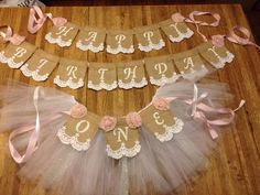 Happy Birthday Burlap Lace Package, High Chair tutu, Happy Birthday, First Birthday, Name Banner, shabby Chic