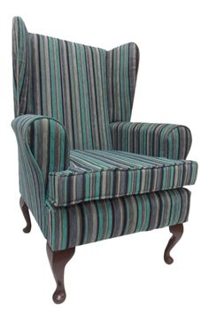 Wing Back Queen Anne Chair Argent Turquoise Stripe Chenille Fabric in Home, Furniture & DIY, Furniture, Sofas, Armchairs & Suites | eBay
