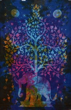 Tie Dye Tree Of Life Tapestry Indian by Rajasthancreations on Etsy