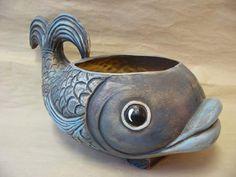 Ryba střední modrá-P Ceramic Planters, Ceramic Clay, Ceramic Pottery, Pottery Art, Slab Pottery, Clay Art Projects, Ceramics Projects, Pottery Sculpture, Sculpture Clay