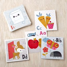 Learning your ABCs is a lot easier when they correspond with charming illustrations designed by artist Jillian Phillips.  Use them as a study tool or as educational wall art. Details, details Nod exclusive Illustrations by Jillian Phillips Set of 26 cards; each features unique artwork Great gift for any child Packaged in a giftable craft paper box with sticker label Set of 26 illustrated cardsShow 'em what you're made of Printed on heavy card stock.