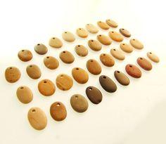 Stock Bulk of 35 Top Drilled Beach Stones  Flat Small by Sisyen, ₪103.00