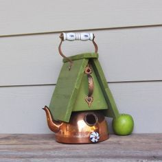 Vintage Copper Tea Kettle Birdhouse, Whimsical Birdhouse, Lime Green, Decorative or Outdoor Birdhouse, Repurposed, Recycled, Reclaimed