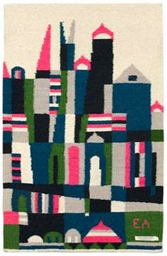 """Byzantia"" c. 1950s. Handwoven wool tapestry/rug by Evelyn Ackerman."