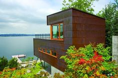 Guest House on a Lake in Mercer Island, Washington Tagged: Exterior and Metal Roof Material. Guest House on a Lake by Robert Hutchison Architecture. Browse inspirational photos of modern exteriors from houses to cabins, apartments to shipping containers. Contemporary Decor, Contemporary Architecture, Architecture Design, Contemporary Houses, Building Architecture, Rustic Lake Houses, Modern Lake House, Cladding Systems, Metal Homes