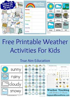 Free Printable Weather Learning Activities for Kids including weather tracking charts, stickers, vocabulary cards, activity pages, and more. Over pages of great weather activities to be able to intergraded into seasons Weather Activities For Kids, Weather Crafts, Weather Science, Weather Unit, Kids Learning Activities, Science For Kids, Science Activities, Preschool Weather Chart, Learning Weather