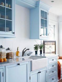 Charming Walls/Beaded board creates cottage style faster than any other element. Find faux beaded board at local home improvement stores for a low-cost, easy-to-install option. These options can often be painted to match any decor. Blue kitchen? Hmm.. It issss calming....