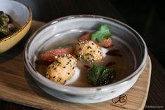 Crab beignets w coconut, sesame seeds, grapefruit. (at GG Restaurant - East Melbourne)