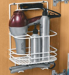 If you don't have wall space (or have more than just your dryer to store) our full hair care rack is an alternative. Can hang on a wall or inside a cabinet wall/door. $13.99