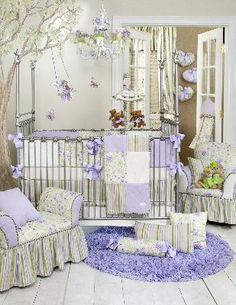 Viola Crib Bedding Set - I love this! Especially to get away from the ordinary pink.