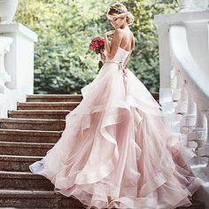 Unique Prom Dresses, Tiers Ruffle Sweetheart Blushing Pink Sleeveless Organza Backless Wedding Dresses, There are long prom gowns and knee-length 2020 prom dresses in this collection that create an elegant and glamorous look Pink Wedding Dresses, Bridal Dresses, Dress Wedding, Lace Wedding, Elegant Wedding, Blush Colored Wedding Dress, Wedding Ceremony, Mermaid Wedding, Trendy Wedding