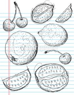 mixed fruit sketch Royalty Free Stock Vector Art Illustration