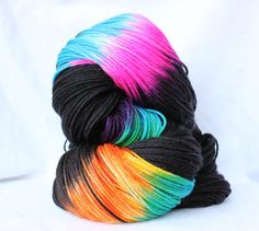Hand Dyed Yarn Black and Brights variegated by SMAKSuperFibers