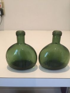 "Pair Of Vintage Olive Green 5 3/4"" Wine Bottles  