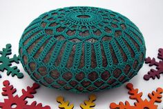 Crocheted Lace Stone, Sea Green, Handmade, One-of-a-kind by KnotByThreadAlone on Etsy!