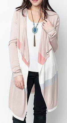 Caralase Blush & White Color Block Open Cardigan