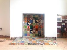 Fireplace tiled, now to find a stove. Tiles: Mexican Handmade, purchased from Caoba in Edinburgh (all 225 of them! 1930s Fireplace, Wood Burner Fireplace, Unused Fireplace, Small Fireplace, Fireplace Hearth, Fireplace Surrounds, Fireplace Design, Fireplace Tiles, Fireplaces