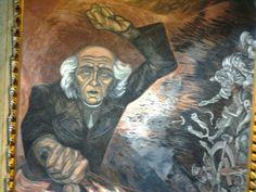 Mural de Miguel  Hidalgo pintado por José  Clemente Orozco en el interior del Palacio de gobierno en Guadalajara Jal. entre los años 1936 _ 1939 Clemente Orozco, Interior, Painting, Guadalajara, Palaces, Indoor, Painting Art, Paintings, Interiors