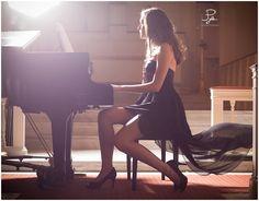 Senior with piano