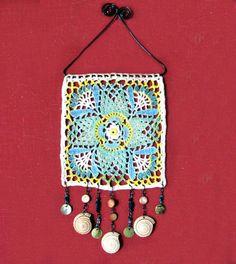 Crochet wall art handpainted repurposed beaded doily beach cottage decor