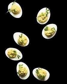 The devil is in the details of this otherwise familiar classic. Wasabi lends the creamy yolks heat.