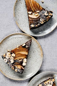 Chocolate Olive Oil Torte with Cardamom, Pears and Hazelnuts