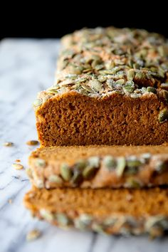 Whole grain, naturally sweetened pumpkin bread. The Flour Sack: Spiced Honey Pumpkin Bread Pumpkin Bread, Pumpkin Puree, Spiced Pumpkin, Sweet Bread, Pumpkin Recipes, Coffee Cake, Sweet Recipes, Brunch Recipes, Bread Recipes