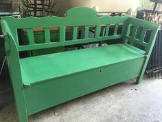 Vintage industrial 1920s Hungarian kitchen bench seat #3